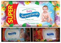 Салфетки влажные SuperFresh 120шт с клапаном (Для детей и мам, +календула) ящ9