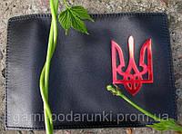 Кожаная обложка на паспорт - Тризуб (тиснение золотом)