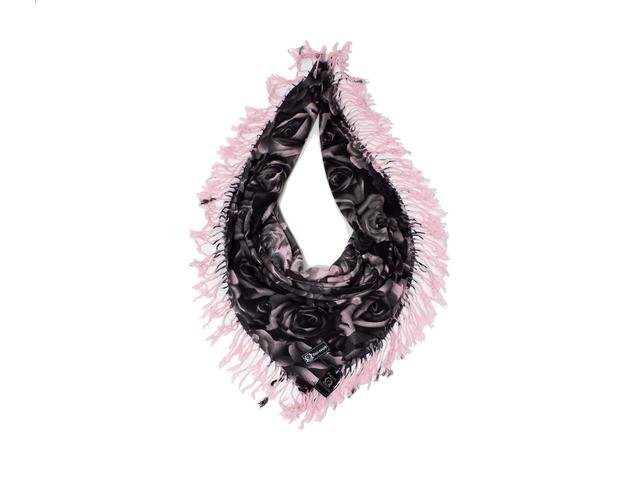 Модный кашемировый платок с принтом розы розовый 4