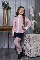 Детская школьная блузка для девочки Brilliant в горошек с брошью