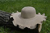Стильная женская летняя пляжная шляпа с широкими полями коричневого цвета