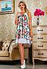 Белое летнее шифоновое платье в цветочек свободного кроя 42-48 размер