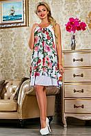 Белое летнее шифоновое платье в цветочек свободного кроя 42-48 размер, фото 1