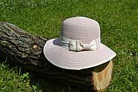 Стильная женская летняя соломенная шляпа розового цвета с белым бантом