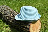 Стильная женская летняя соломенная шляпа бирюзового цвета