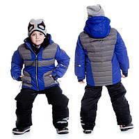 Зимний комплект для мальчика от 4 до 6 лет (куртка, полукомбинезон, манишка) ТМ Deux par Deux Синий P815-576