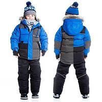 Зимний комплект для мальчика от 4 до 6 лет (куртка, полукомбинезон, манишка) ТМ Deux par Deux Черный Q816-999