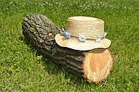 Стильная женская летняя соломенная бежевая шляпа канотье с цветами