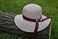 Стильная женская летняя соломенная шляпа розового цвета с лентой цвета марсала