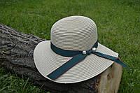 Стильная женская летняя соломенная шляпа коричневого цвета с зеленой лентой