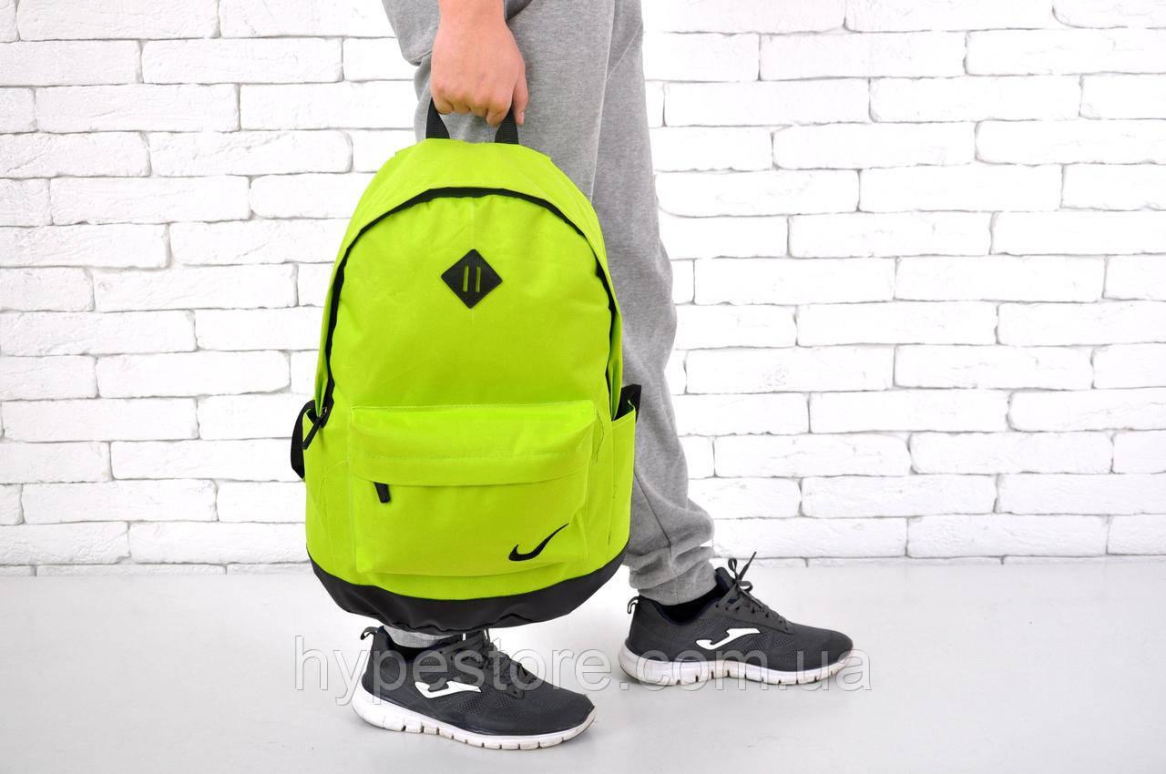 Спортивный, городской рюкзак Nike (салатовый найк), Реплика