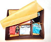 Органайзер для белья и мелочей с крышкой 6 ячеек,35х28х15 см (оранжевый)