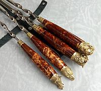 Шампура Красная Стрела набор шампуров в черном кожаном колчане ручная работа 6шт