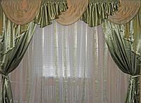 Ламбрекен  и шторы 3  м комплект оливкового цвета