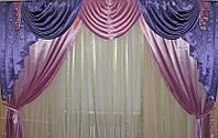 Ламбрекен и шторы фиолетово-сиреневого цвета