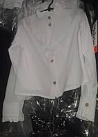 Белая школьная блуза для девочки с жабо