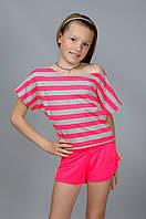Летний костюм для девочки (футболка и шорты)
