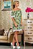 Красивое шифоновое платье с кружевом по низу свободного кроя 42-52 размер