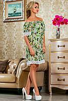 Красивое шифоновое платье с кружевом по низу свободного кроя 42-52 размер, фото 1