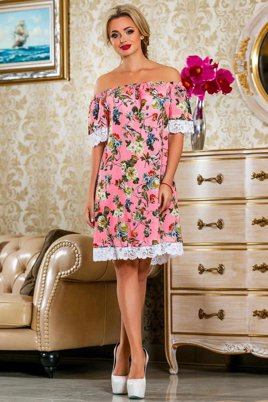 11d310f98d9a Красивое шифоновое платье с кружевом по низу свободного кроя 42-52 размер -  TM