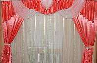 Розовый ламбрекен и шторы для спальни