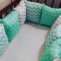 Бортики-защита в детскую кроватку со съемными чехлами, фото 1