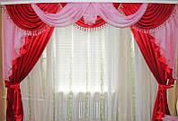Ламбрекен 3 м и шторы в комплекте красно-розовый