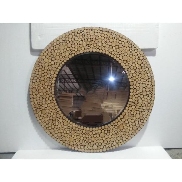 круглое настенное зеркало в деревянной раме Biglua