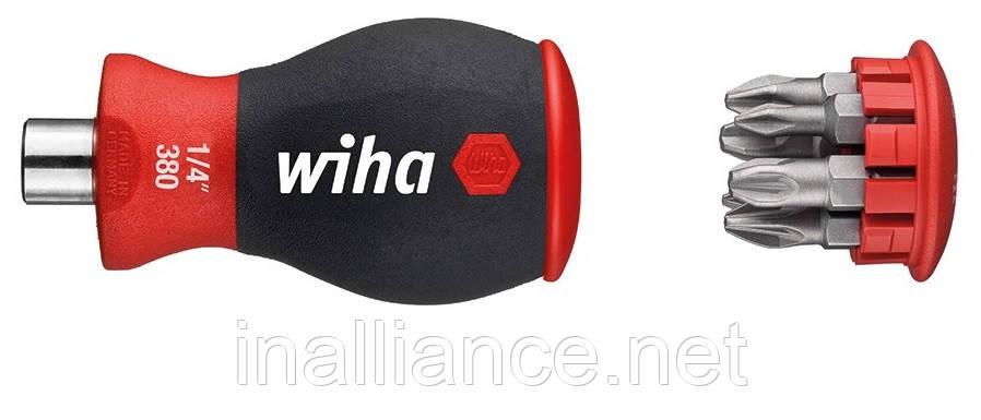 Отвертка укороченная SoftFinish с магнитным держателем бит PH / PZ, Wiha 33740