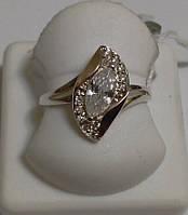 Кольцо из серебра и золота с белым камнем Лолита