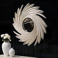 Круглое настенное зеркало в раме