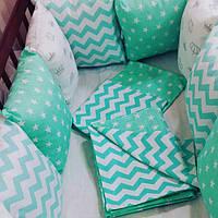 Бортики-защита (12 подушечек) в детскую кроватку + комплект постельного белья, фото 1