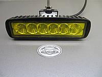 Cветодиодная фара дальнего света LED 2218-18W жёлтая