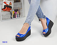 Модные женские кожаные туфли синие перламутр открытый носок тренд 2017!