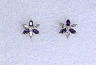 Серьги Гвоздики серебро 925 пробы АРТ2001 Фиолетово-Белые