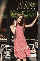 Молодежное платье с оборкой
