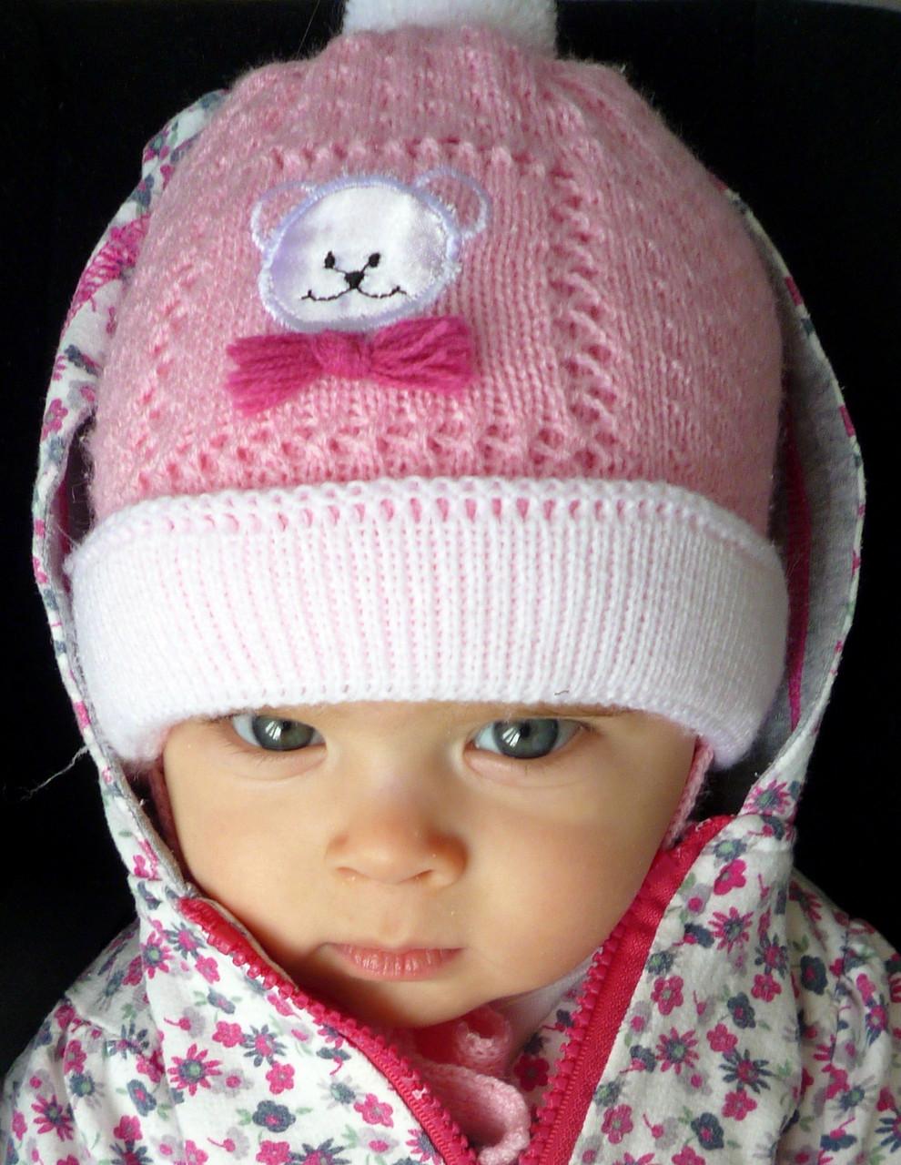 021 Мишка, двойная детская шапка весна/осень, р. 40-42.  розовый, белый+розовый, белый+голубой, голубой
