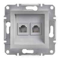Розетка телефонная двойная алюминий ASFORA Schneider Electric EPH4200161