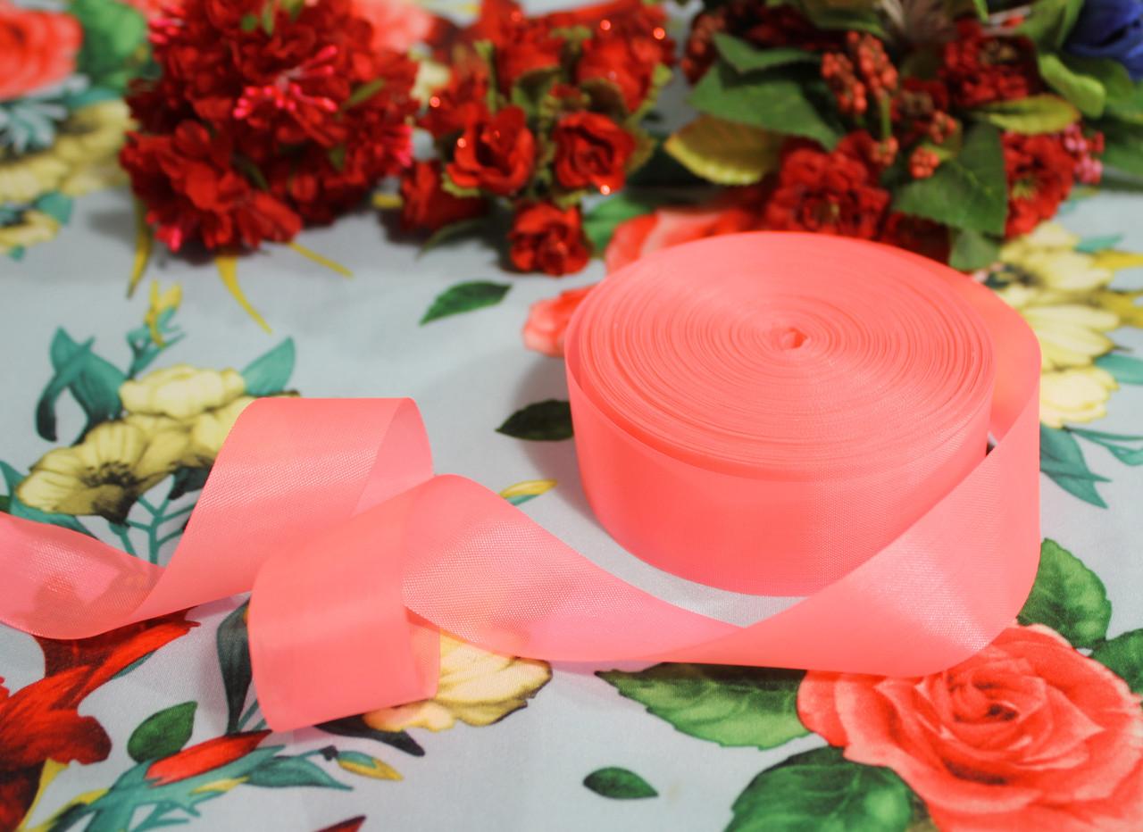 Лента шелковая ярко- розовая 25 мм