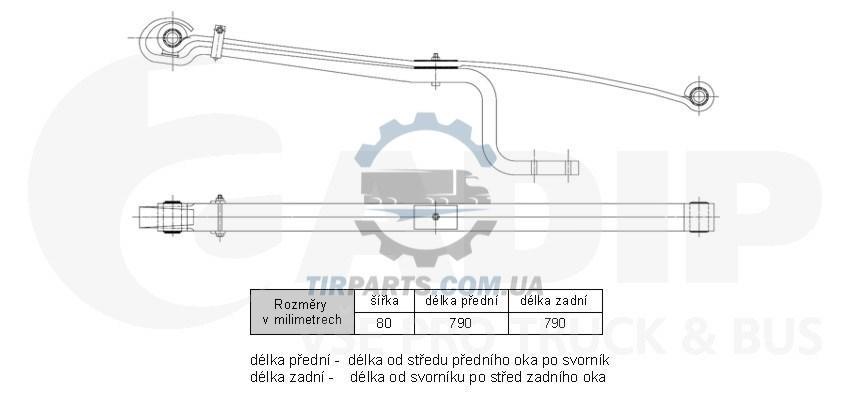 Рессора задняя подкоренной лист mercedes-benz 809-914 (31994101   9166148)