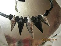 БИЖУТЕРИЯ колье бусы ожерелья металл как серебро шипы новые стильные модные украшения