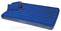 Двухместный надувной матрас Intex 152х203х22 см. + 2 подушки и ручной насос 68765