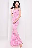 Роскошное платье в пол из набивного гипюра, розовый