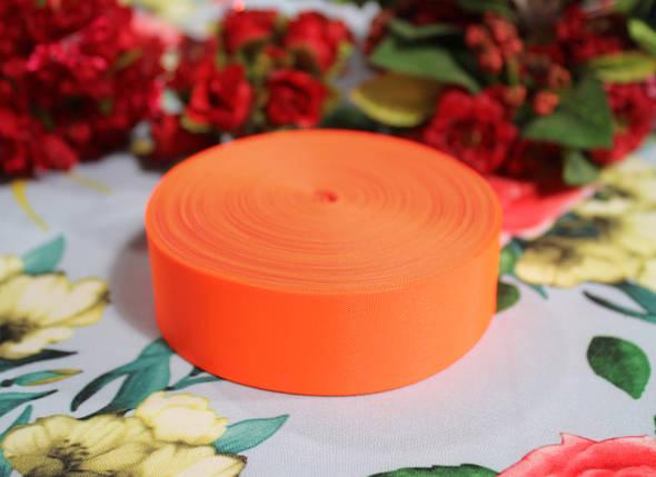 Лента шелковая ярко- оранжевая 25 мм, фото 2