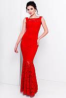 Роскошное платье в пол из набивного гипюра, красный