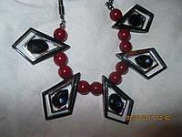 БИЖУТЕРИЯ колье бусы ожерелья красные бусины под серебро фигурные новые стильные модные украшения