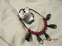 БИЖУТЕРИЯ колье бусы ожерелья красные бусины синие камни новые стильные модные украшения