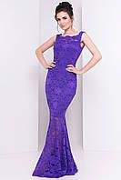 Роскошное платье в пол из набивного гипюра, фиолет