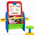 Детский мольберт XFG 905 (доска для рисования+магнитная азбука) напольная со стульчиком киев, фото 2