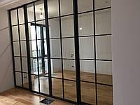 Стеклянные двери с металлом